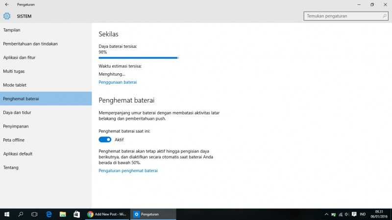 Tips Menghemat Baterai di Windows 10