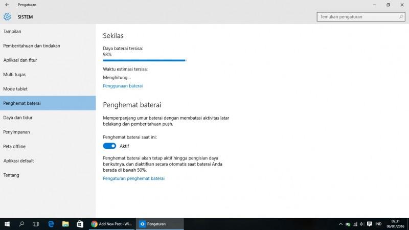 Tips Menghemat Baterai di Windows 10