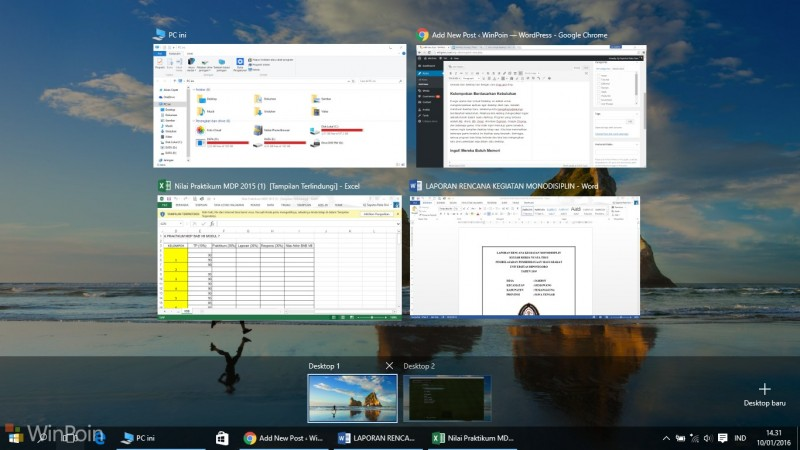 Tips Menggunakan Virtual Desktop Windows 10
