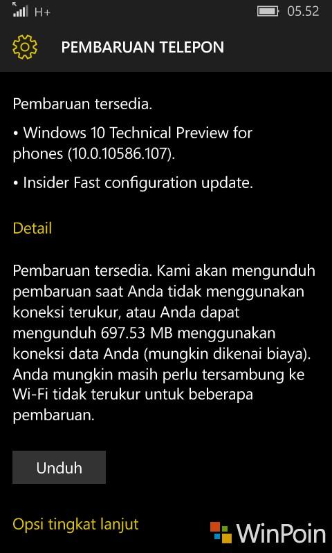Windows 10 Mobile Build 10586.107 Telah Tersedia di Fast Ring