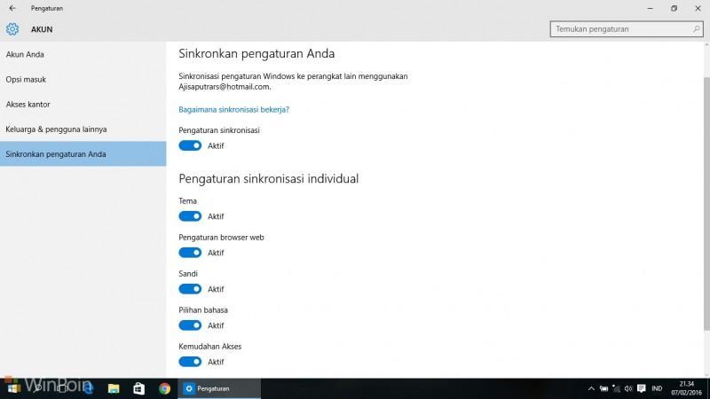 Menyelaraskan Pengaturan di Semua Perangkat Windows