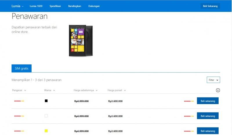 Lumia 1020 Diskon Hingga 48%