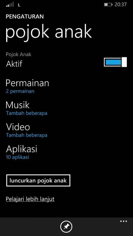 Menggunakan Kids Corner di Windows Phone