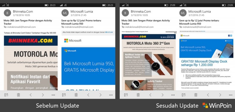 Outlook Mail and Calendar Maret Update