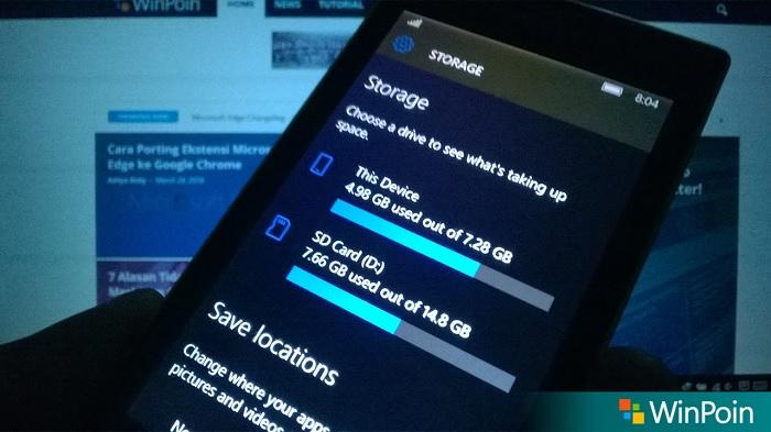 Storage Windows 10 Mobile