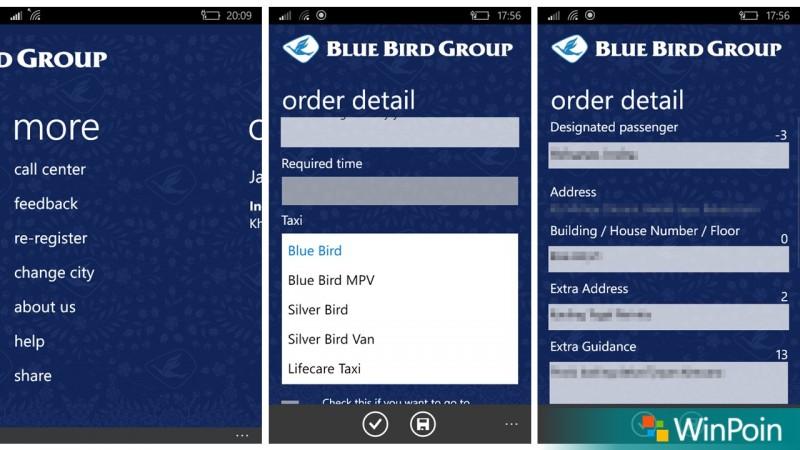 Taksi Blue Bird Windows 10 Mobile
