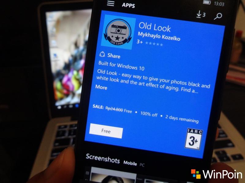 """Aplikasi """"Old Look"""" untuk Windows 10 / Mobile Sedang Digratisin di Windows Store!"""