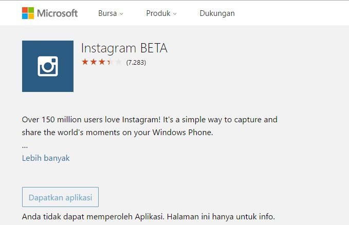 Instagram Hilang Windows Phone