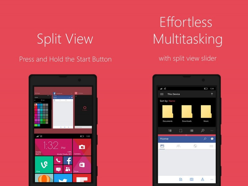 Split screen Windows 10 mobile concept