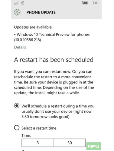 Windows 10 Mobile Build 10586.218
