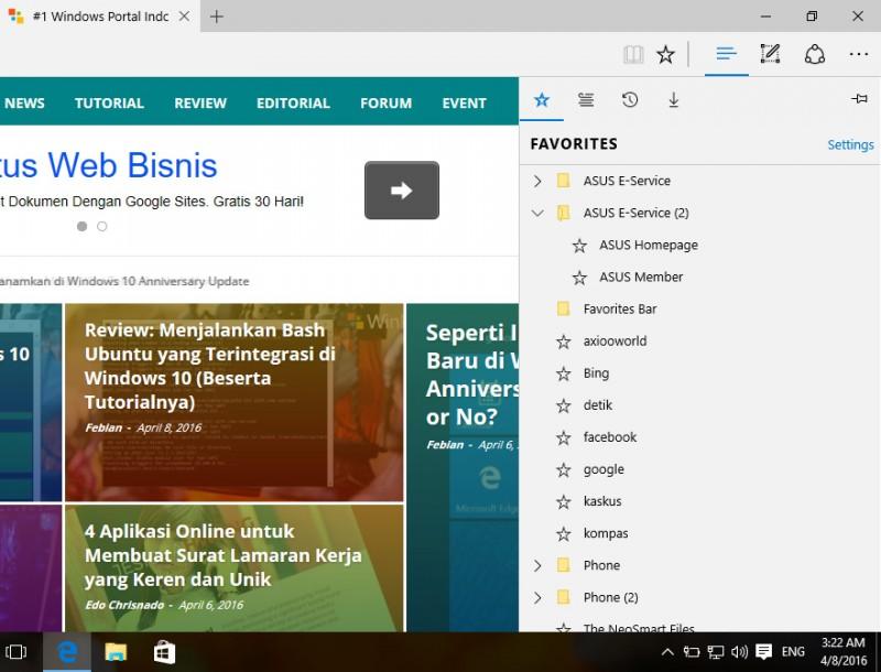 Fitur Baru di Browser Edge Windows 10 Insider Build 14316
