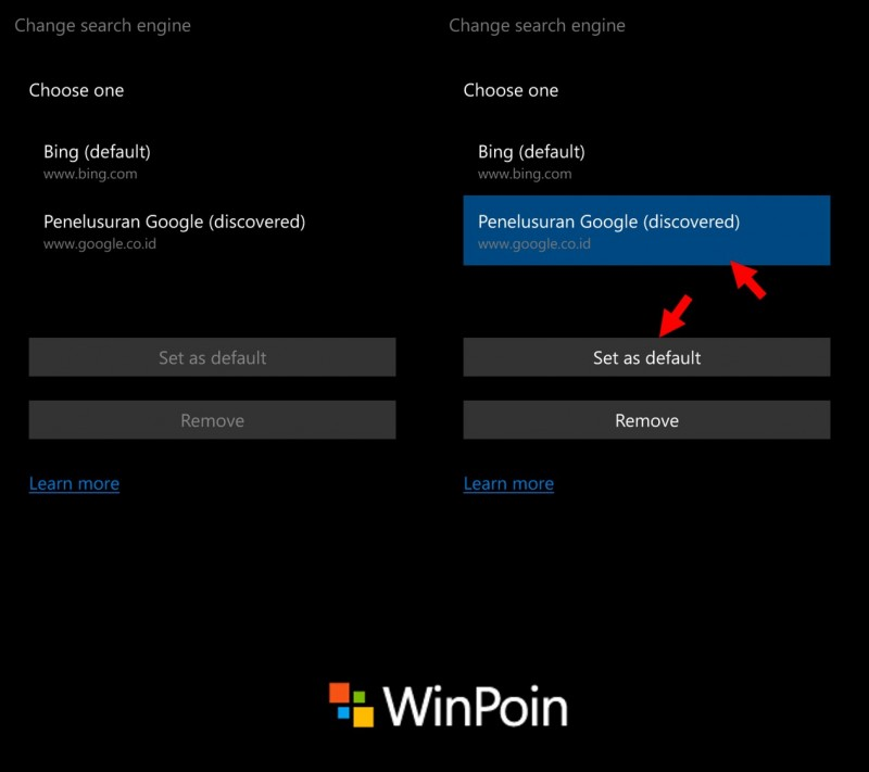 microsoft edge windows 10 mobile - change search engine