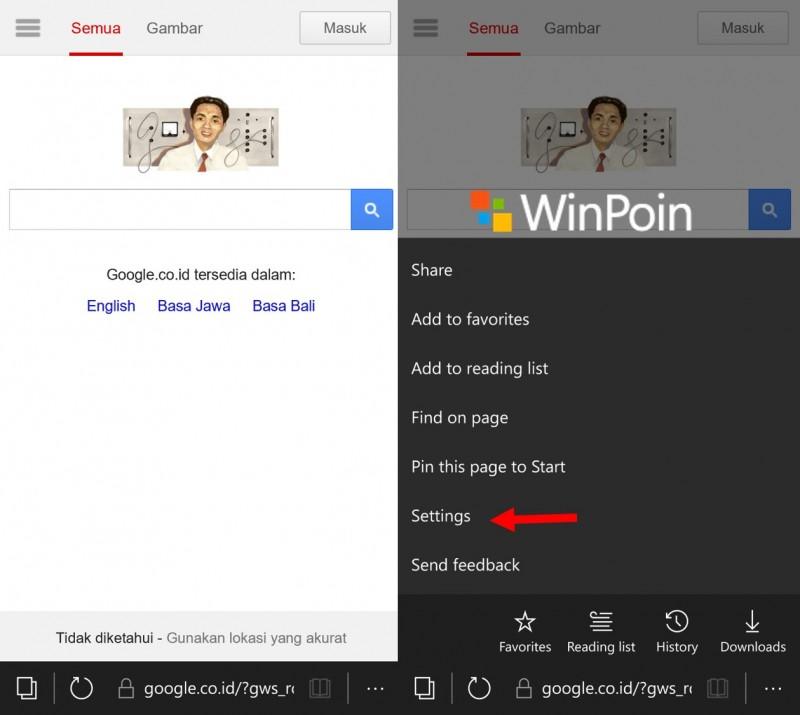 microsoft edge windows 10 mobile - setting option