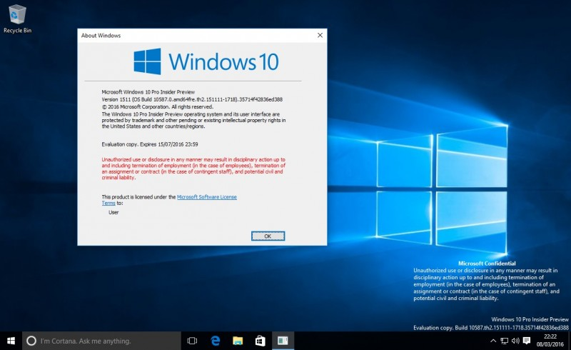 Build 10587 bocor ke internet
