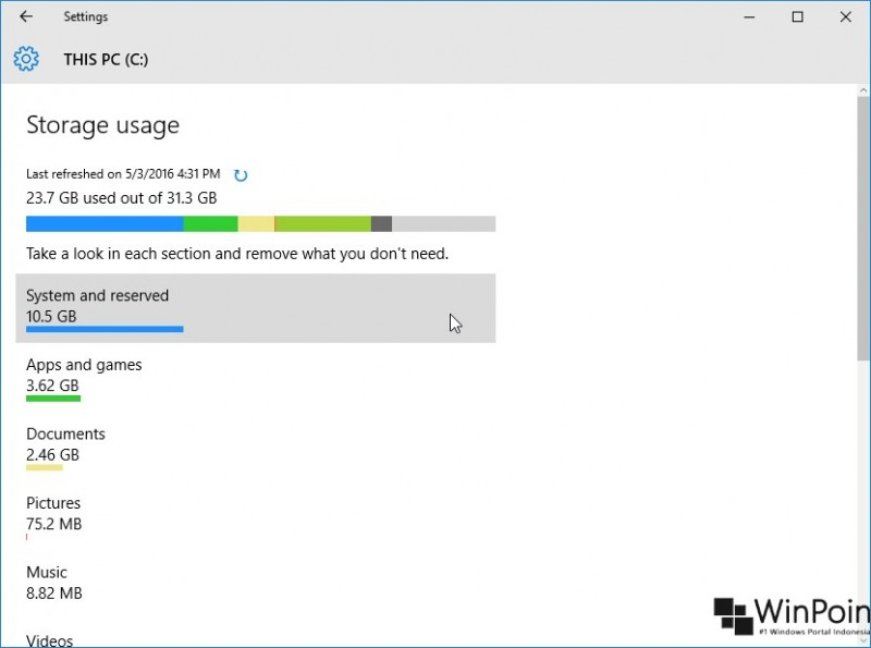 melihat kapasitas penyimpanan di windows 10 (2)