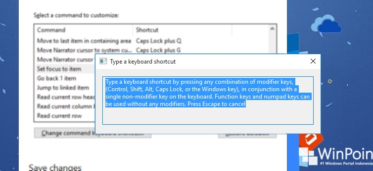 membuat custom shortcut pada narrator (4)