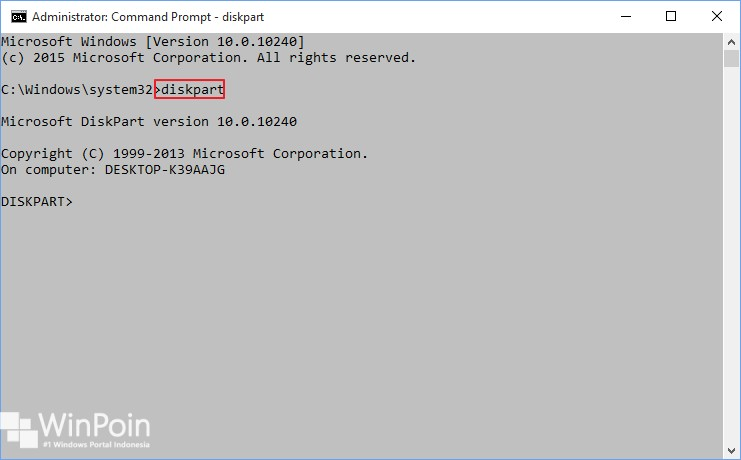 membuat partisi dengan diskpart di windows 10 (1)