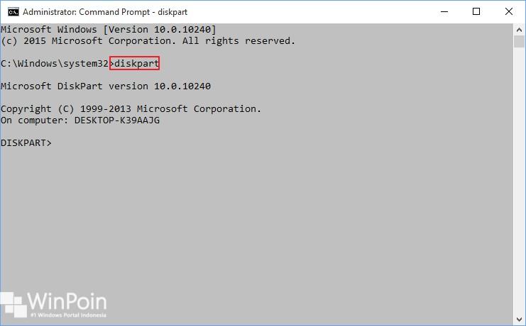membuat partisi dengan diskpart di windows 10 (1)