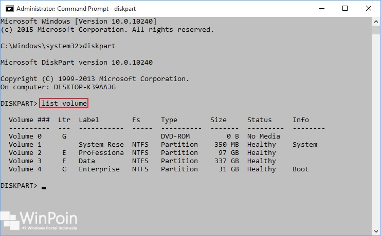 membuat partisi dengan diskpart di windows 10 (2)