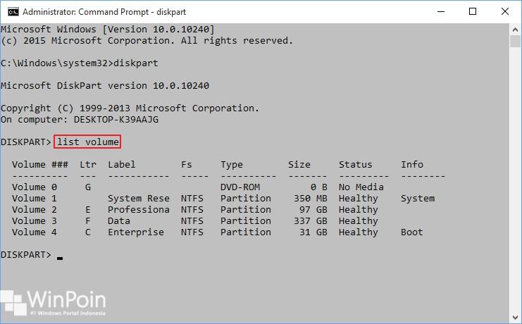 membuat partisi dengan diskpart di windows 10 (2)