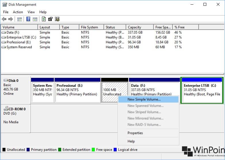 membuat partisi dengan diskpart di windows 10 (5)