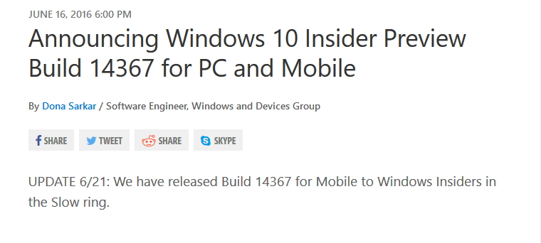 Build 14367 Mobile Slow Ring
