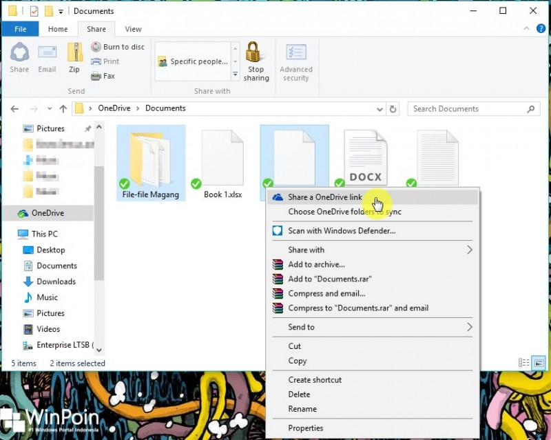 Cara Sharing File atau Folder di OneDrive Folder Windows 8.1 10 (1)