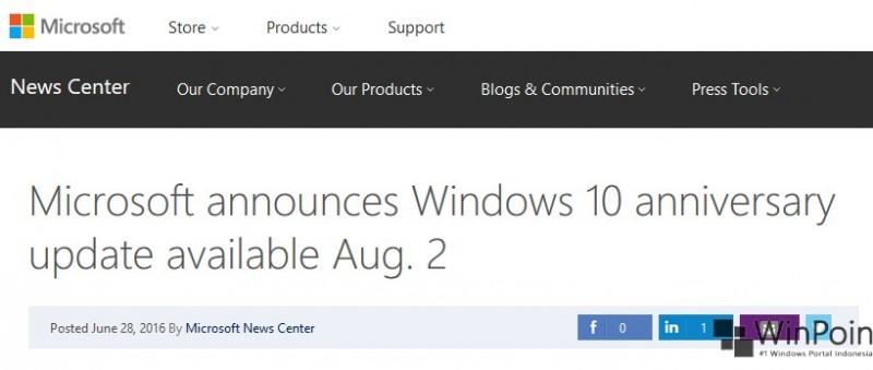 Microsoft Akan Merilis Anniversary Update pada 2 Agustus
