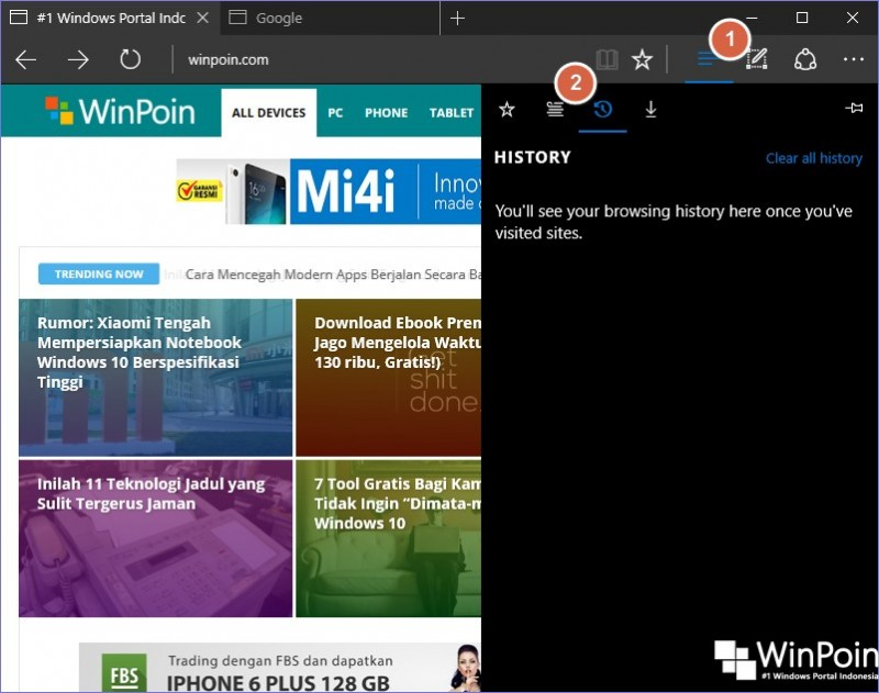 Cara Melihat History Browser Microsoft Edge di Windows 10 (1)