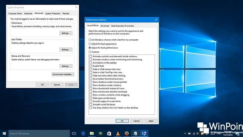 Cara Mematikan Visual Efek di Windows 10 (1)