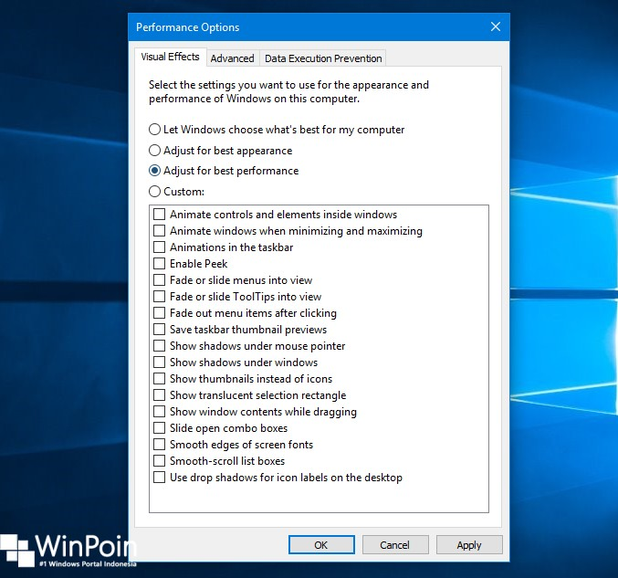Cara Mematikan Visual Efek di Windows 10 (4)