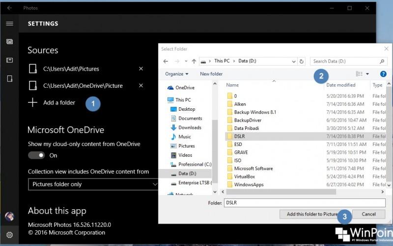 Cara Menambahkan Folder pada Aplikasi Photos di Windows 10 (2)