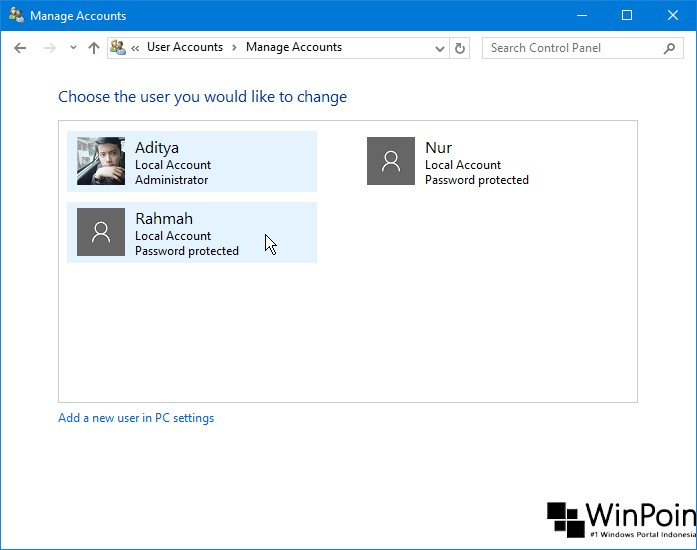 Cara Mengganti Nama Local Account di Windows 10 (2)