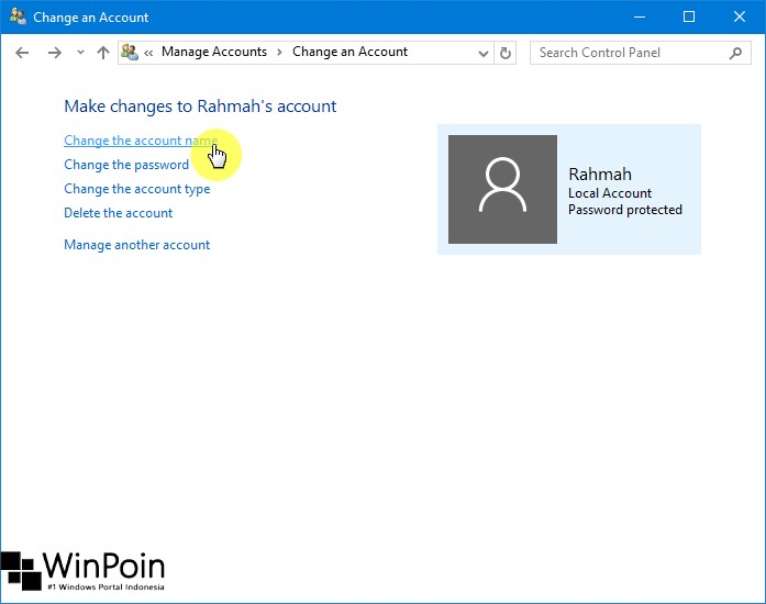 Cara Mengganti Nama Local Account di Windows 10 (3)