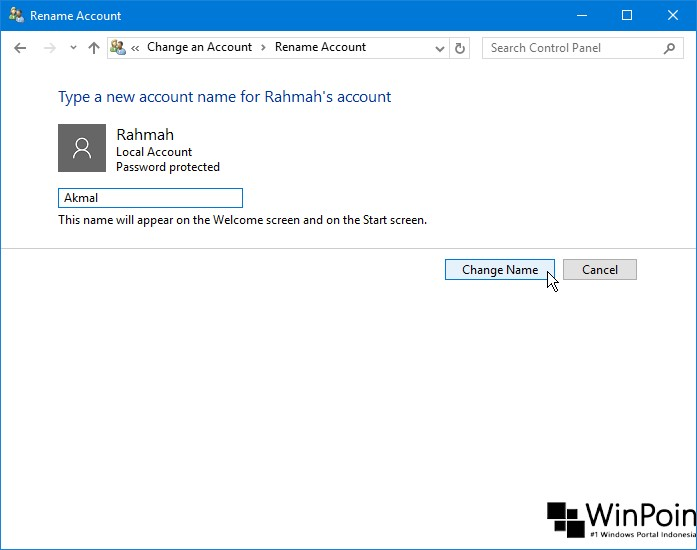 Cara Mengganti Nama Local Account di Windows 10 (4)