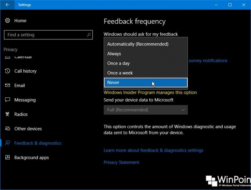 Cara Menghentikan Windows 10 Meminta Feedback