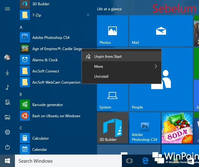 Cara Menghilangkan Opsi Uninstall Apps pada Start Menu Windows 10 (4)