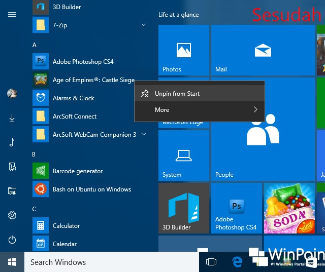 Cara Menghilangkan Opsi Uninstall Apps pada Start Menu Windows 10 (5)