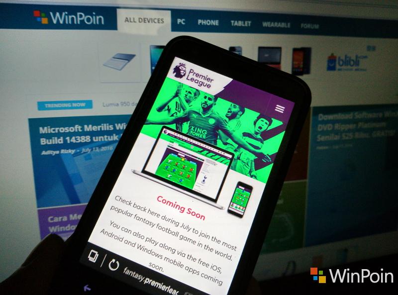 Aplikasi Resmi Fantasy Premier League Segera Hadir di Windows Store