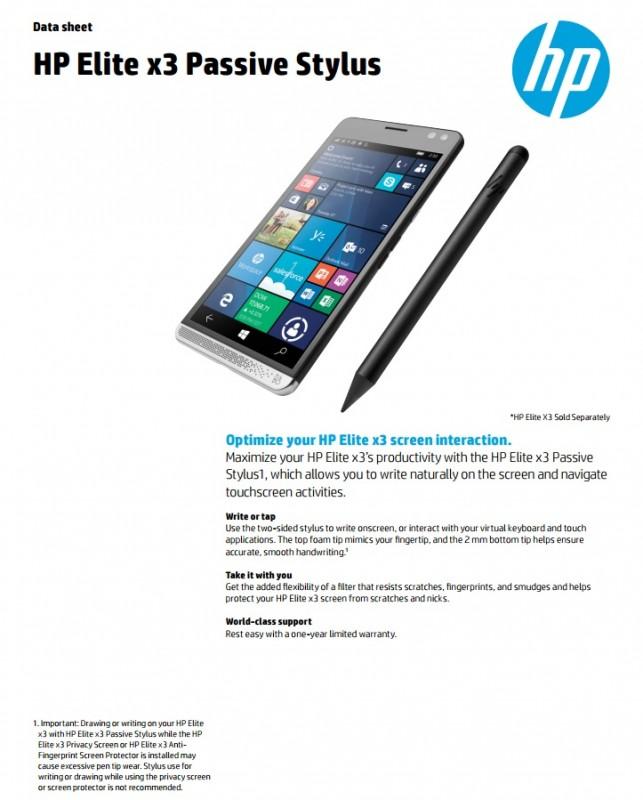 HP Elite X3 Akan Memiliki Passive Stylus Pen