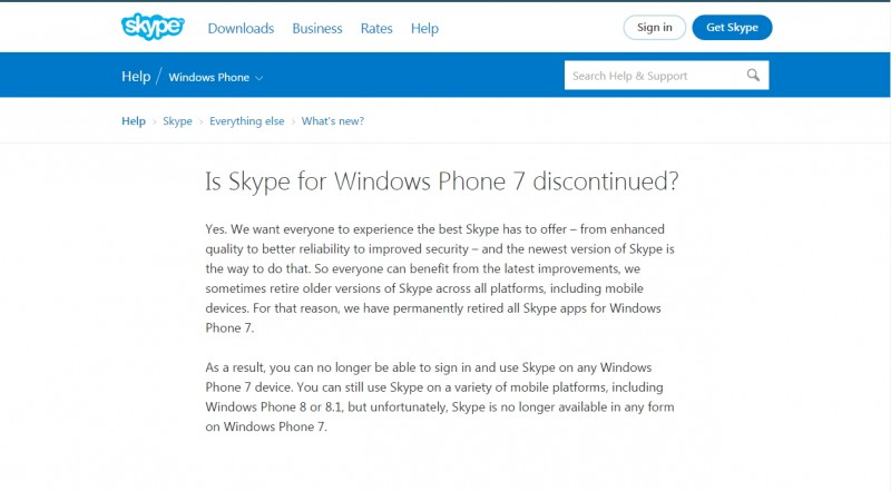 Skype discontinued