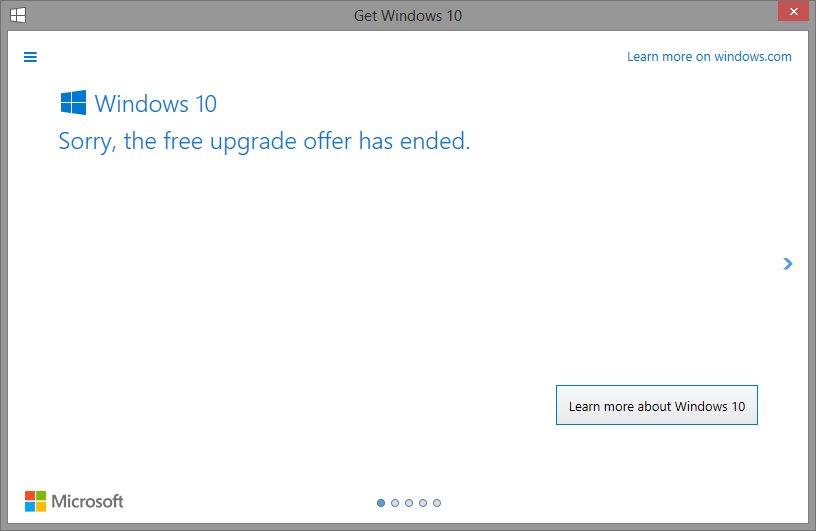 Upgrade Gratis ke Windows 10 Telah Berakhir Hari ini_1Upgrade Gratis ke Windows 10 Telah Berakhir Hari ini_1