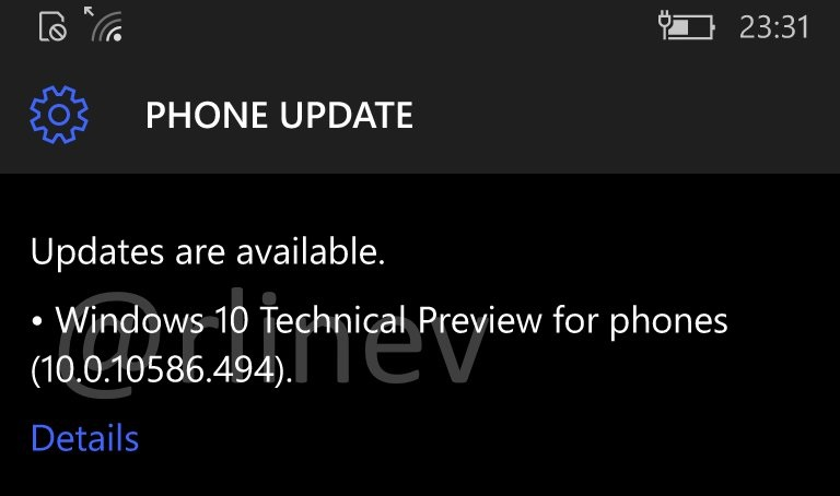 Windows 10 Mobile 10586.494 Update