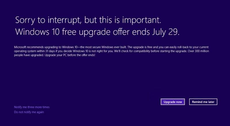 Windows 10 Notification Full Screen