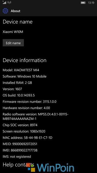 Review Windows 10 Mobile Insider Build 14393.5 di Xiaomi Mi4