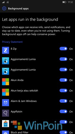 Cara Mengatur Background Apps di Windows 10 Mobile