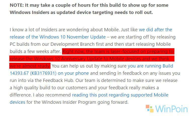 Microsft: Kami Sekarang Fokus untuk Merilis Windows 10 Mobile Anniversary Update