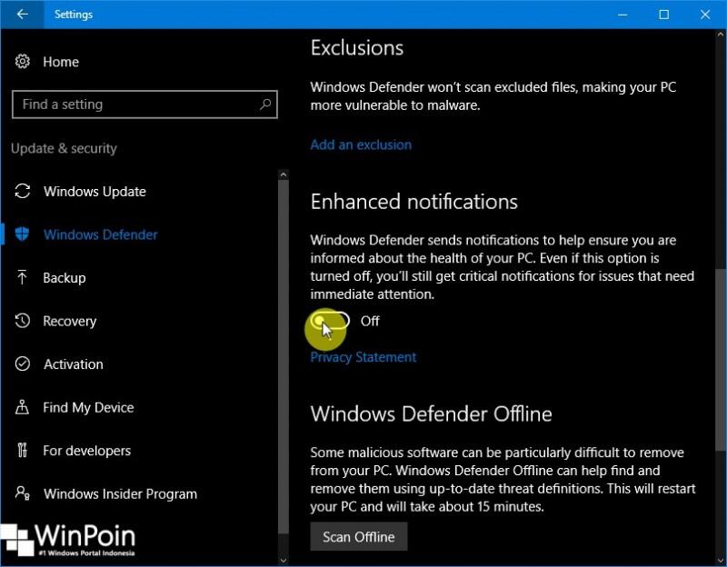 Cara Mematikan Notifikasi Windows Defender di Windows 10 (2)
