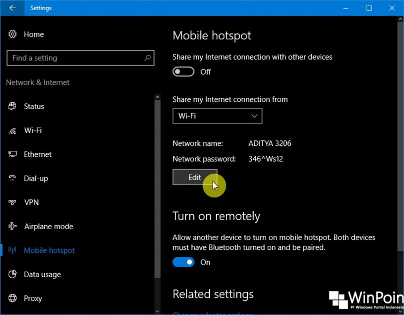 Cara Mengganti Nama dan Password Mobile Hotspot di Windows 10 (1)