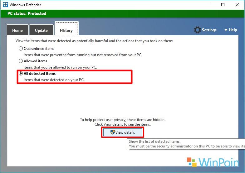 Menemukan Hasil dari Scan Offline Windows Defender